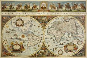 Map of the earth in two hemispheres with portrait pope Innozenz XI. and rider portraits of europ. Pr