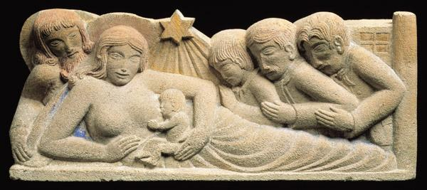 Nativity and the Adoration of the Magi, 1922 (portland stone relief with added colour)