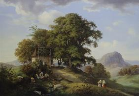 Mountainous landscape with cluster of trees and chapel in the background of the boron