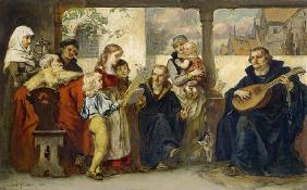 In the circle of his family playing instruments for Martin Luther (with Cranach u.Melanchthon)