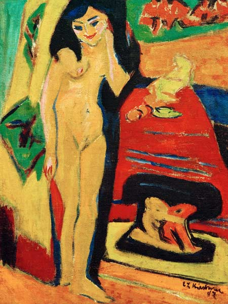 Curtains Ideas curtain paintings : Nude behind curtain. - Ernst Ludwig Kirchner as art print or hand ...