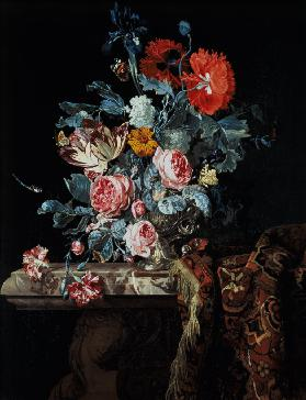 Flower still life on a Ballustrade