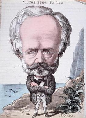 Victor Hugo (1802-85) on Jersey rock, 1867 (colour engraving)