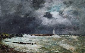 Storm at the coast with Le Havre