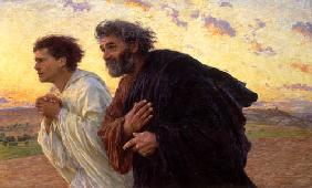 In the morning of the resurrection the disciples Peter and Johannes on the way to the grave
