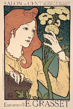 Reproduction of a poster advertising an 'Exhibition of work by Eugene Grasset, at the Salon des Cent
