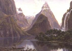 Native figures in a canoe at Milford Sound, West Coast of South Island, New Zealand, also depicted a