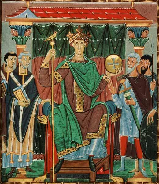 Emperor Otto III. during the homage by the empire provinces