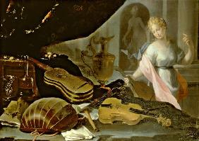 Still Life of Musical Instruments, with a Female Figure