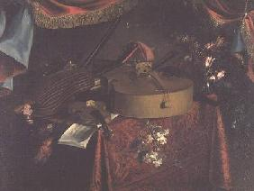 Still Life of Musical Instruments on a Table with Flowers
