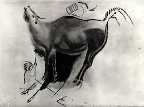 Copy of a rock painting at the Altamira Caves depicting a stag belling (pen & ink on paper)
