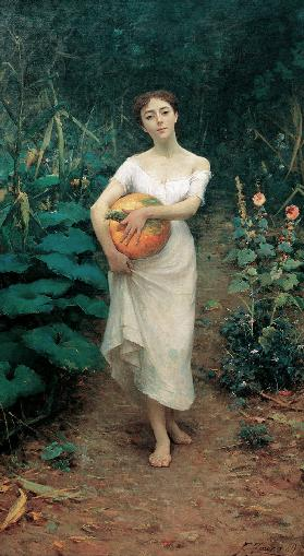 Young Girl Carrying a Pumpkin