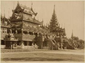 The Hman Kyaung or the glass monastery, Burma, c.1890 (albumen print) (b/w photo)