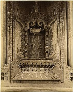The The-ha-thana or the Lions'' throne in the Myei-nan or Main Audience Hall in the palace of Mandal