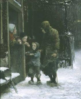 Old Woman and Young Boy Begging