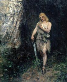 Siegfried in front of Fafners cave with the ring and the sword Notung