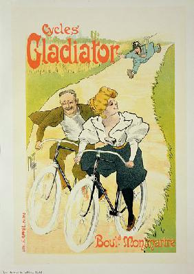 Reproduction of a poster advertising 'Gladiator Cycles', Boulevard Montmartre, Paris