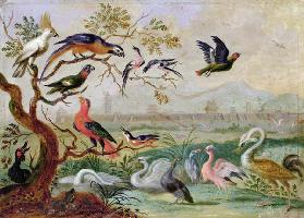 Birds from the Four continents in a landscape with a view of Peking in the background