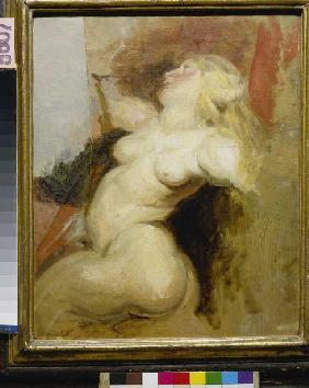 Copy of a naked woman figure from the Medici cycle of Rubens.