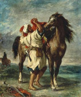 Arab saddles his horse