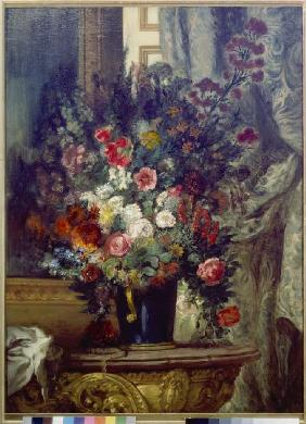 Vase with flowers on a console