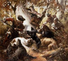 Wild boar hunting in the old days