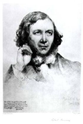 Portrait of Robert Browning (1812-89) 1859  (b&w photo)