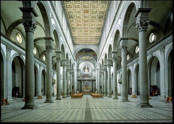 View of the nave 1425 46 photo filippo brunelleschi for Interior iglesia san lorenzo brunelleschi