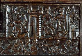 The Courtrai Chest depicting Flemish foot soldiers defeating French cavalry  (detail)