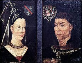 Double portrait of Charles le Temeraire (1433-82) Duke of Burgundy and his wife