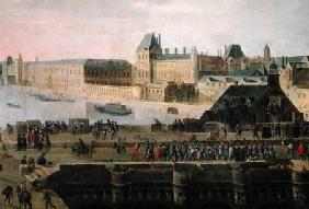 View of the Pont-Neuf and the River Seine looking downstream, detail of the bridge and the Louvre