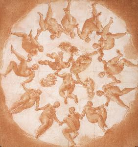 Dance of the Hours and three putti with cornucopiae