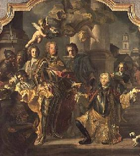 Gundaker Count Althann handing over to the Emperor Charles VI (Charles III of Hungary) (1685-1740) t