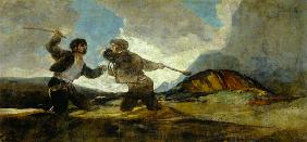 Duel with Clubs (black pictures for the Quinta del Sordo)