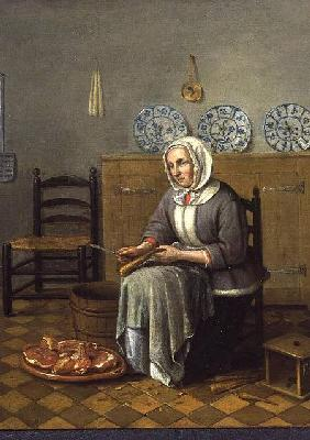 Carree, Franciscus : A Seated Woman preparing F...