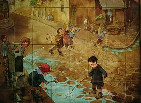Tiles depicting children playing in the street