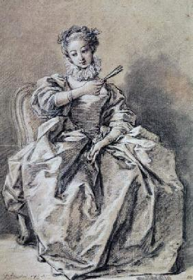 Woman in Spanish Costume (charcoal & white chalk on paper)
