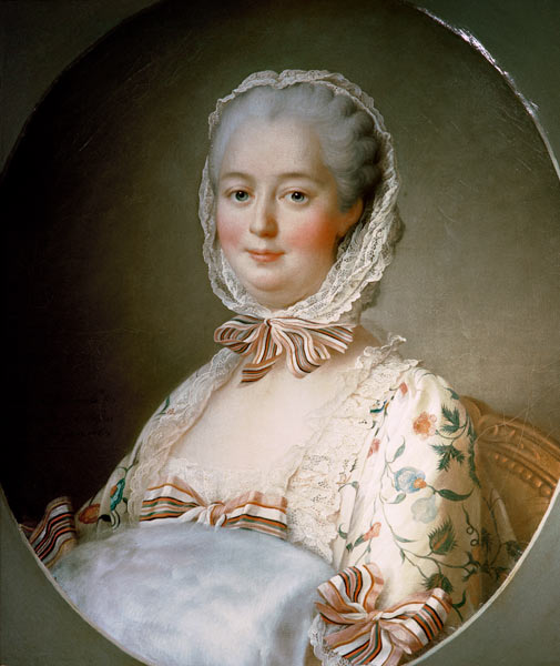 portrait of madame de pompadour with a f fran 231 ois hubert drouais as print or painted