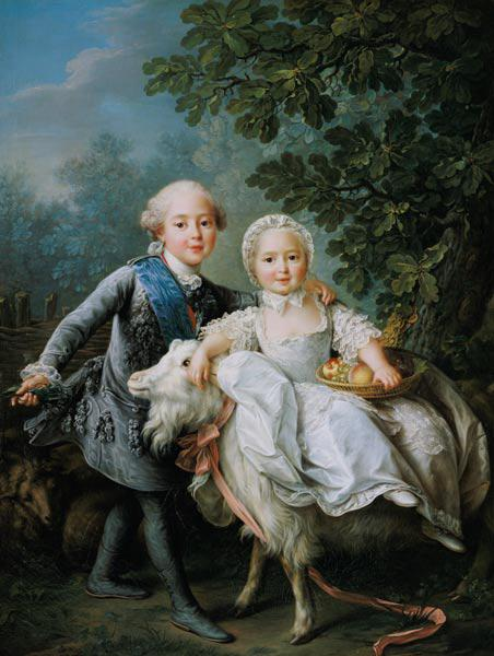 Portrait of Charles Philippe of France (1757-1836) (later Charles X) and his sister Marie Adelaide (