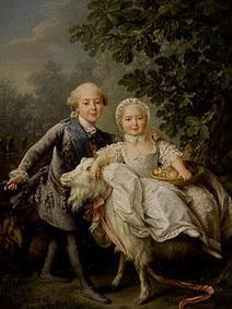 Child portrait Charles Philippe of France with nurse Marie-Adelaide