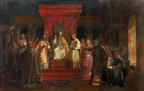 Pope Honorius II granting official recognition to the Knights Templar in 1128