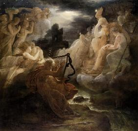 Ossian wakes the spirits on the shore of the Lora with the tone of his harp