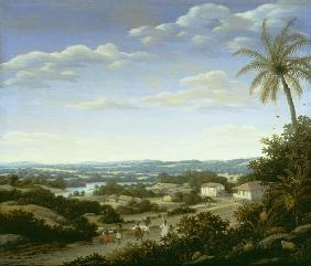 Brazilian landscape with natives on a road approaching a village