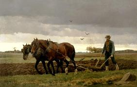 Ploughman in the evening.