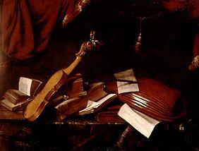 Quiet life with violin and lute