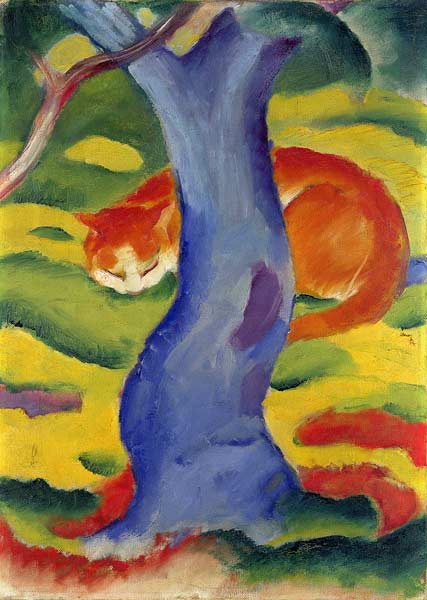 Cat Behind A Tree Franz Marc As Art Print Or Hand