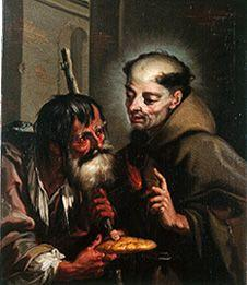 The St. Peter Regaladis boards a beggar with bread.