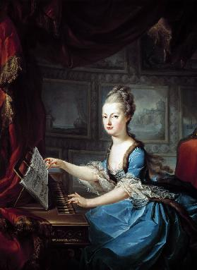 Archduchess Marie Antoinette Habsburg-Lothringen (1755-93) at the spinnet fifteenth child of Empress
