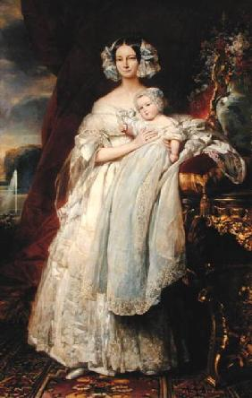 Helene-Louise de Mecklembourg-Schwerin, Duchess of Orleans (1814-58) with his son Count of Paris (18