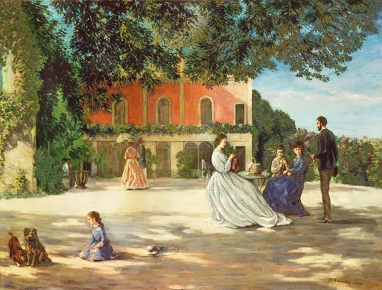 Family reunion on the terrace at meric fr d ric bazille for Kids on the terrace